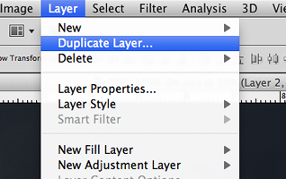 Выбор пункта Duplicate Layer в меню Layers.